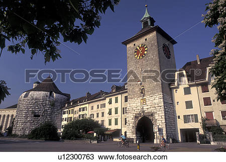 Stock Photo of clock tower, Solothurn, Switzerland, Old medieval.