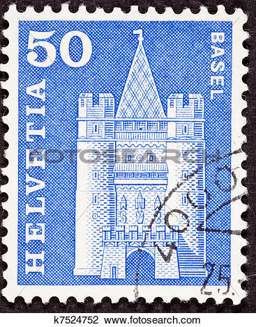 Clip Art of Swiss Stamp Spalen Gate in Basel k7524752.