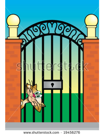 Vector Calico Cat Gate Entrance Concept Stock Vector 19456276.