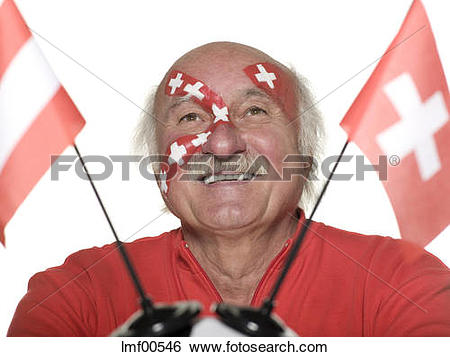 Stock Images of Old man with Swiss flag painted on face holding.
