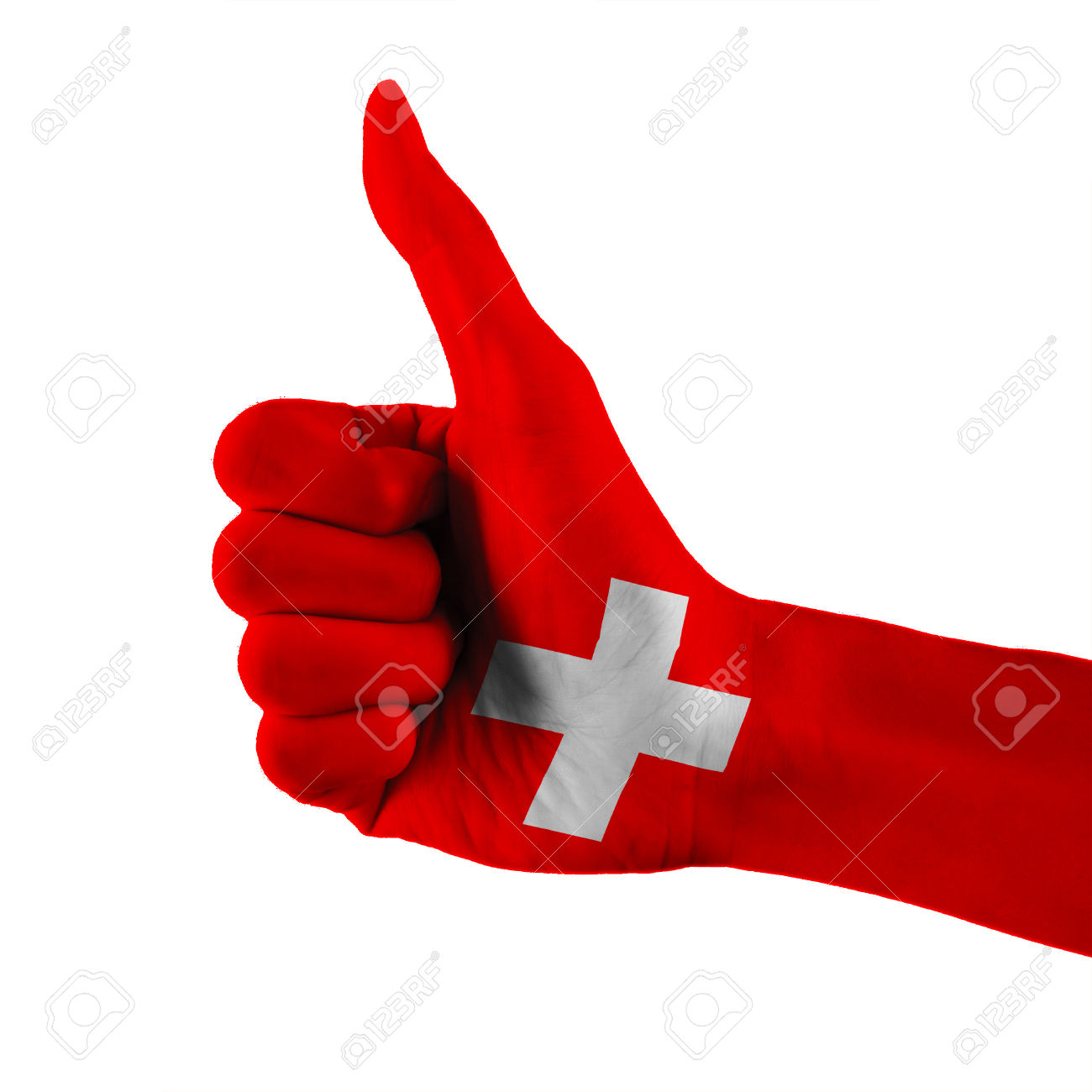 Switzerland Or Swiss Flag Painted Hand Showing Thumbs Up Sign.