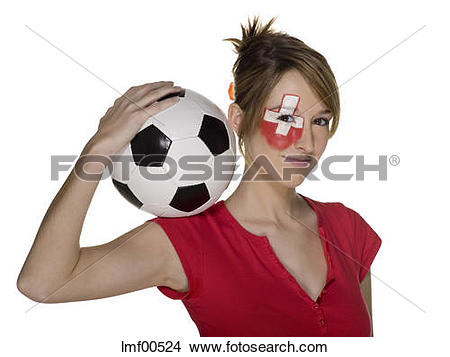 Stock Photo of Woman with Swiss flag painted on face, holding.