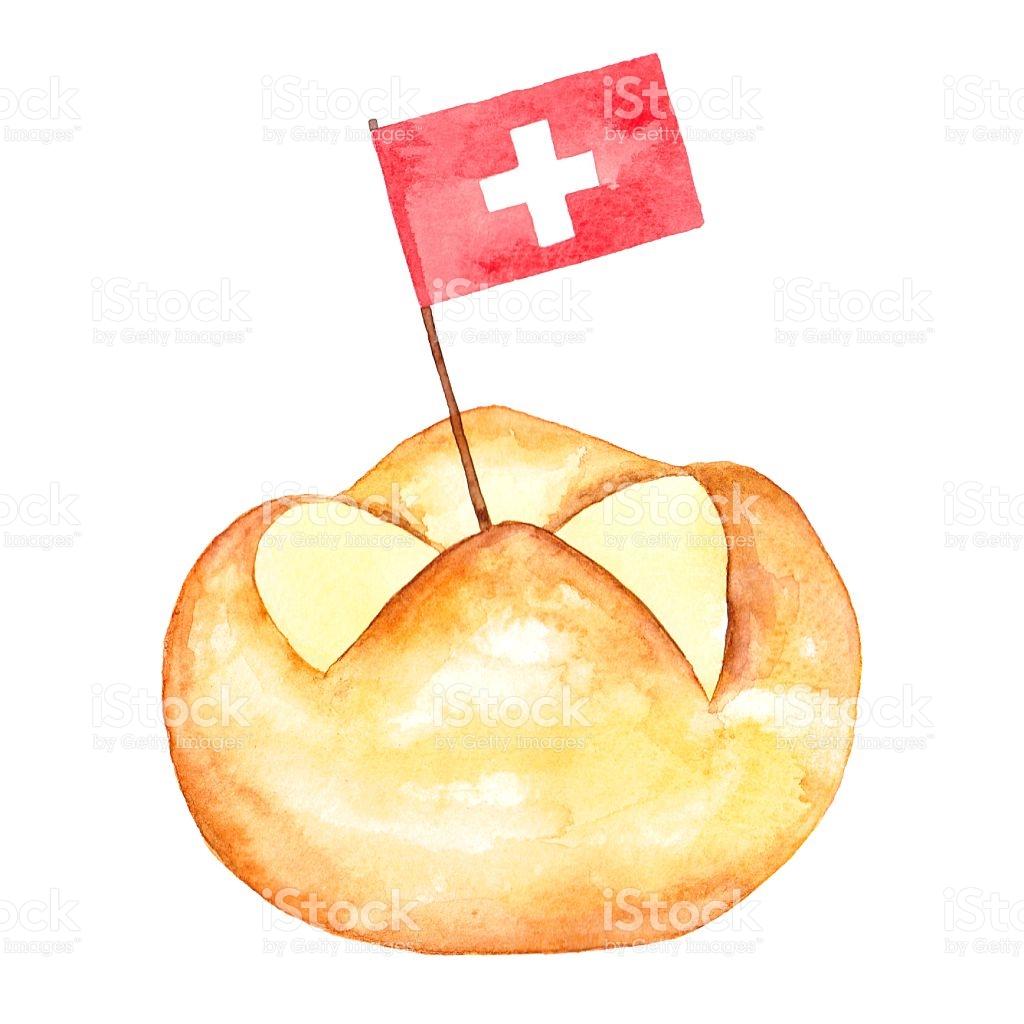 Hand Painted Watercolor Swiss Bread Bun stock vector art 540387056.