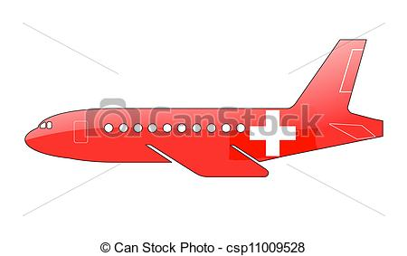 Clip Art of The Swiss flag painted on the silhouette of a aircraft.