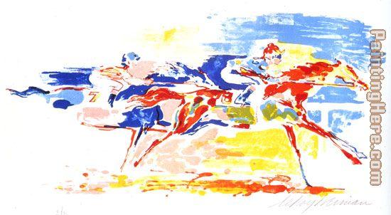 Leroy Neiman Swiss Race Art Painting for sale.