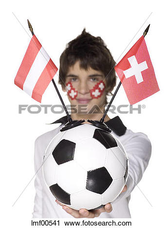 Stock Photography of Man with Swiss flag painted on face holding.