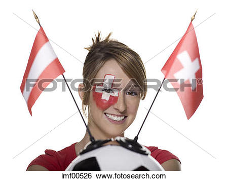Stock Images of Woman with Swiss flag painted on face, holding.