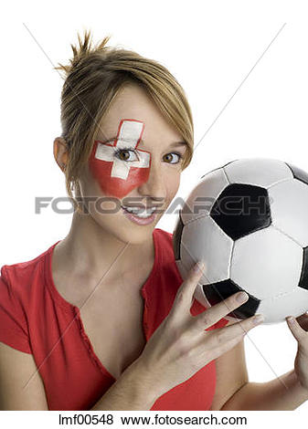 Pictures of Woman with Swiss flag painted on face, holding.
