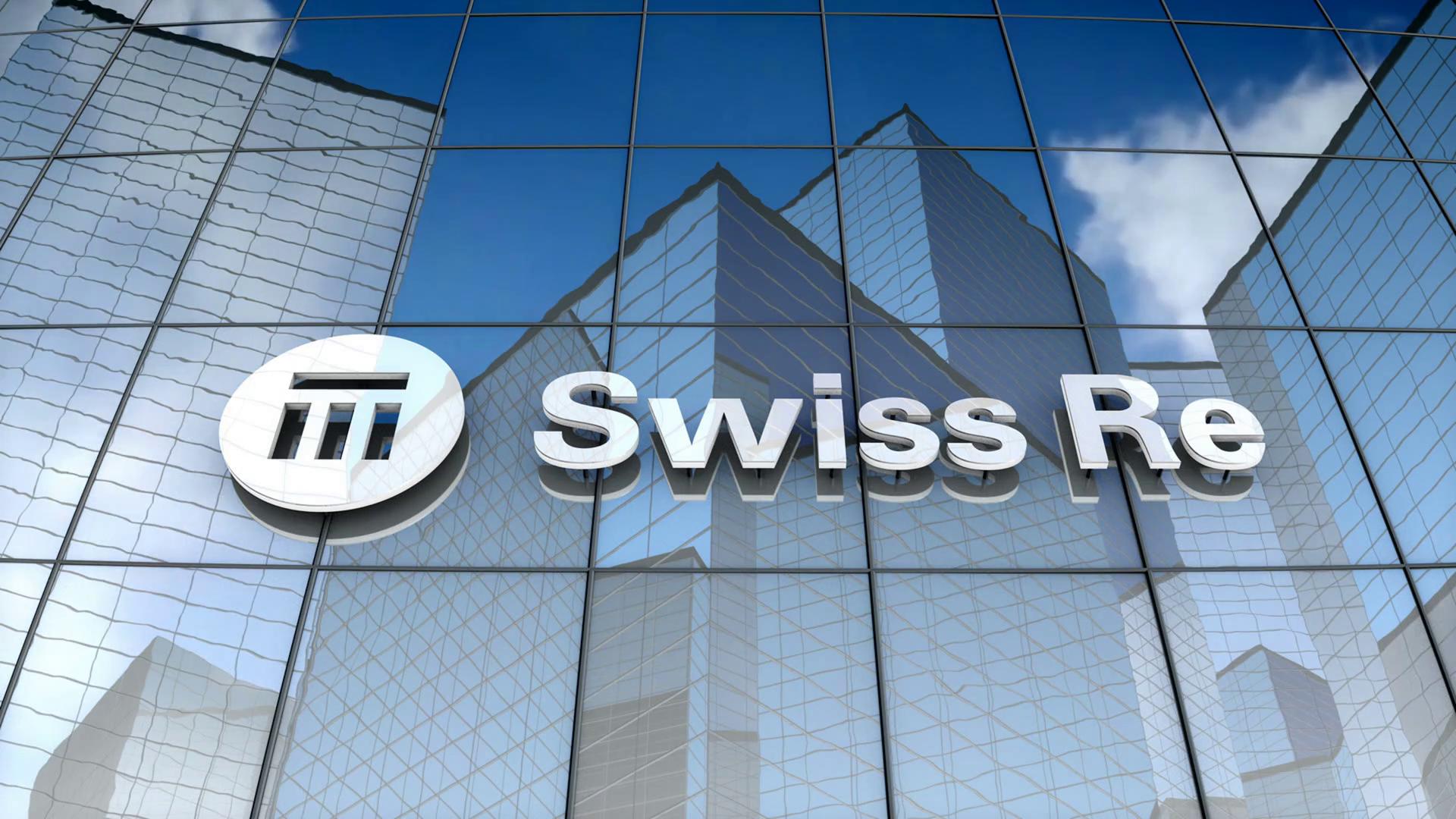 Editorial, Swiss Reinsurance Company Ltd logo on glass building..