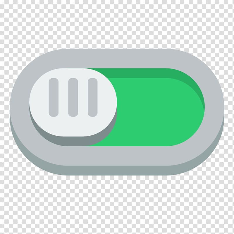 Green and gray turned on button, brand green, Switch on.