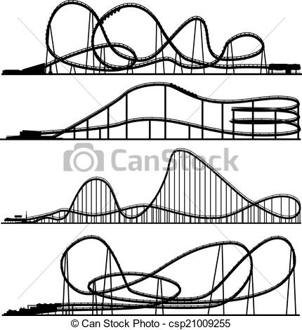 Clipart Vector of Set of silhouettes switchback..