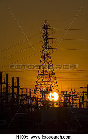Stock Image of Power lines at switching station in California.