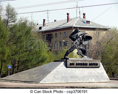 Stock Photography of Monument of switchman in Chelyabinsk.