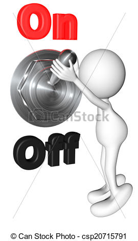 Stock Illustration of little man operating the switch.