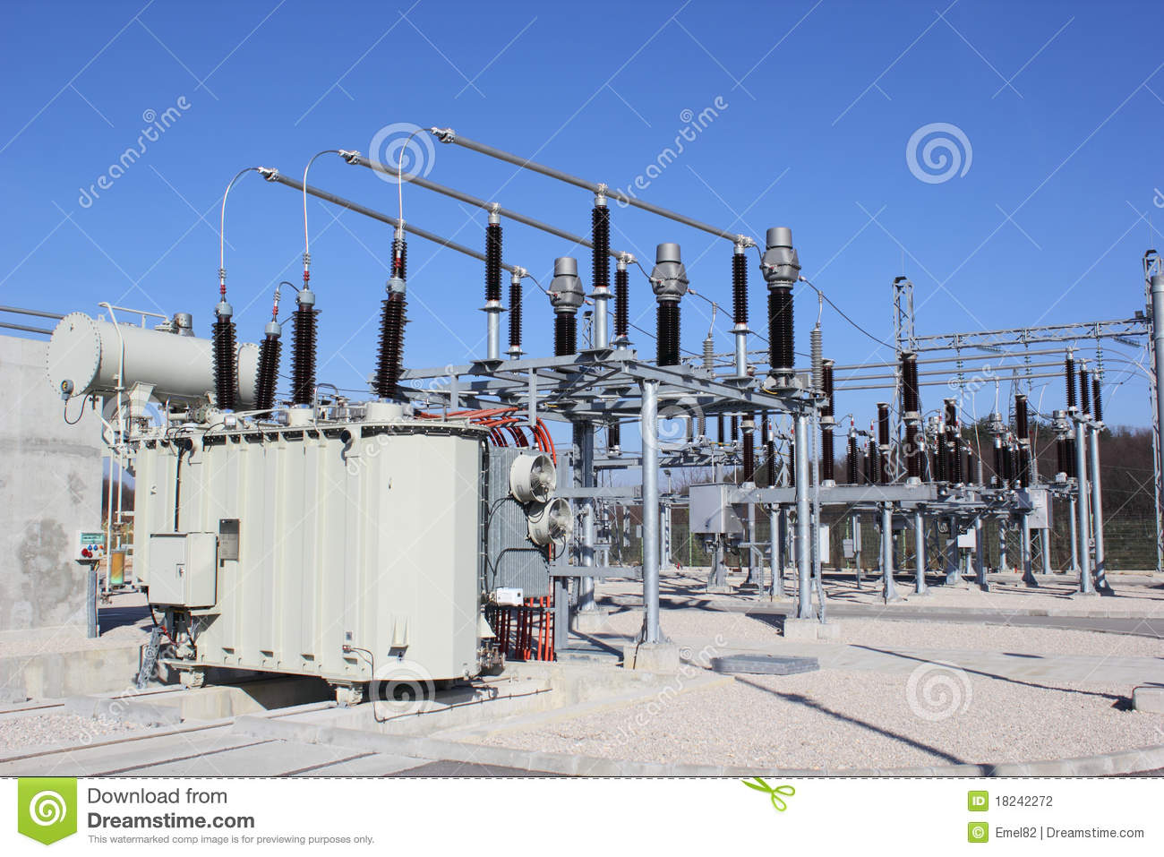 High Voltage Substation Stock Photography.