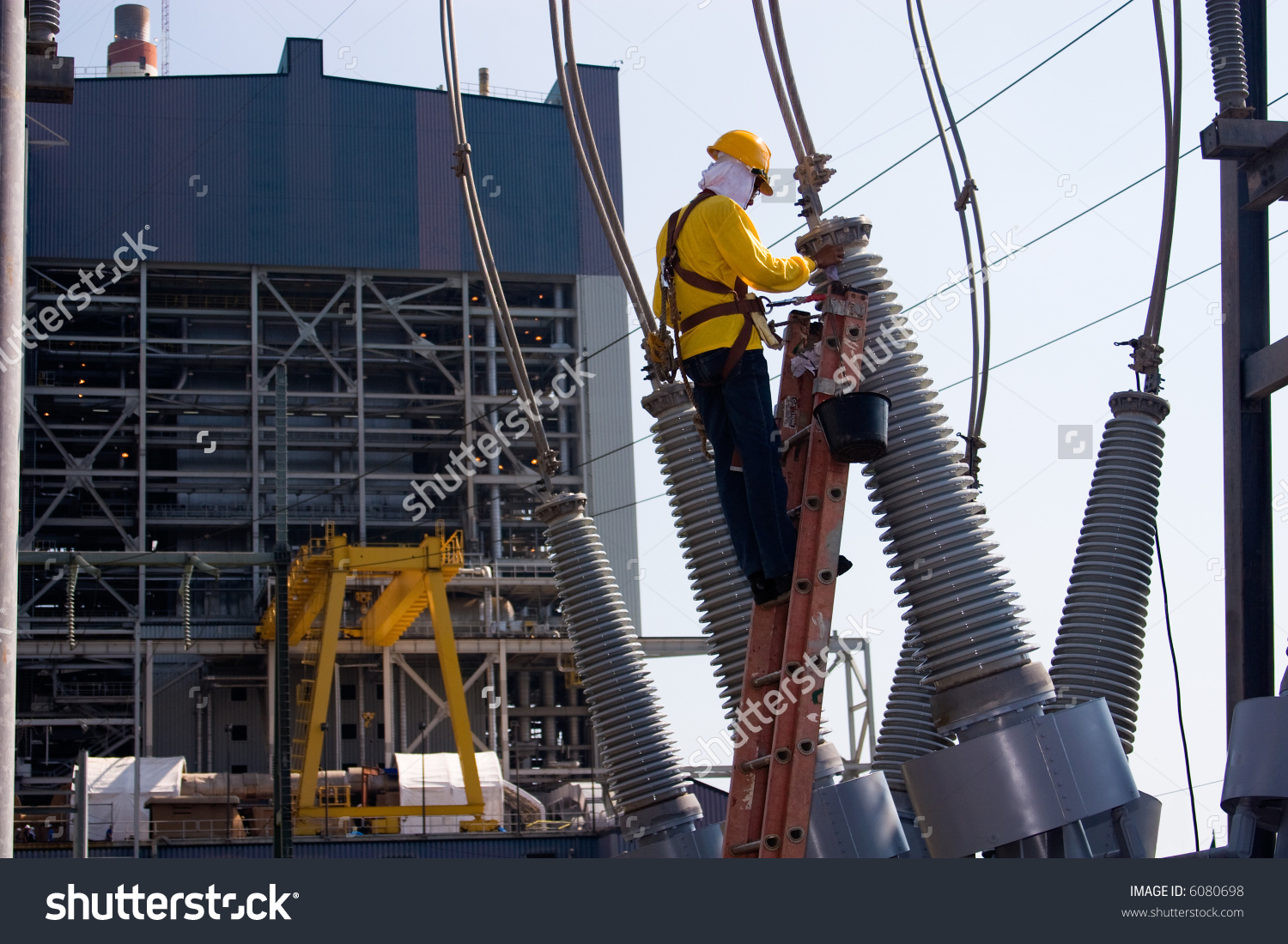 Worker Switch Yard Maintenance Work Power Stock Photo 6080698.