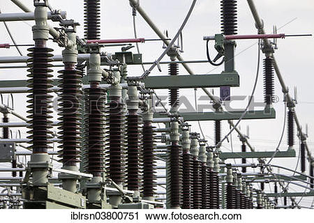"Stock Photography of ""Insulators of the switchyard of a substation."