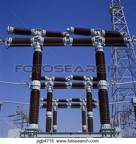 Stock Image of Switchgear, high voltage heavy duty units in power.