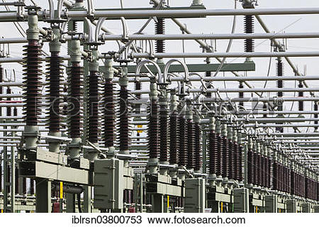 "Stock Photo of ""Insulators of the switchyard of a substation."
