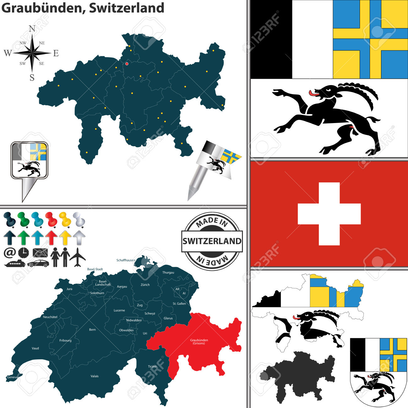 Vector Map Of Canton Graubunden With Coat Of Arms And Location.