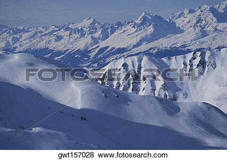 Pictures of Panoramic view of snowcapped mountains, Davos.