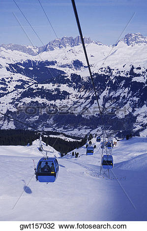 Stock Photo of High angle view of ski lifts, Davos, Graubunden.