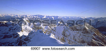 Picture of High angle view of snowcapped mountains, Santis.