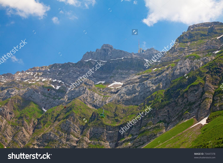 Cable Car In Swiss Alps (Santis, St. Gallen, Switzerland) Stock.
