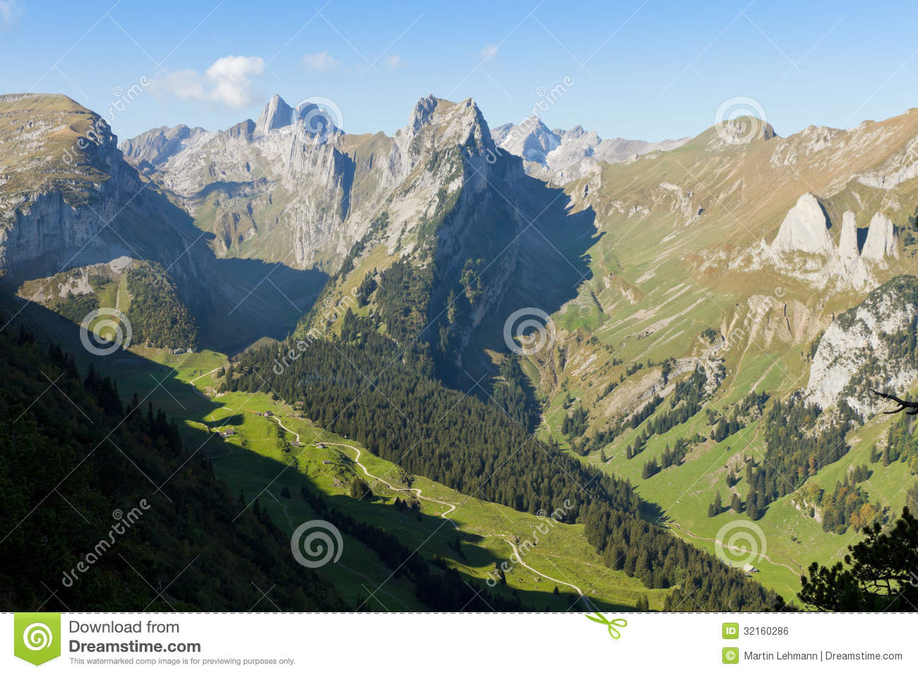 Deep Valley At Saentis, Switzerland Royalty Free Stock Image.