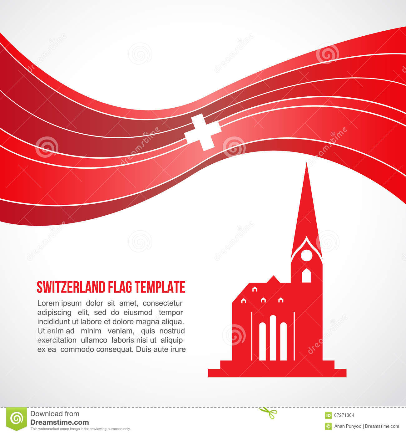Switzerland Flag Wave And Fraumunster Cathedral Vector Template.