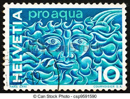 Stock Photography of Postage stamp Switzerland 1964 Symbolic Water.