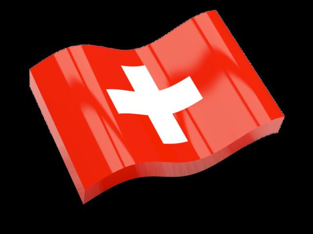 Glossy wave icon. Illustration of flag of Switzerland.