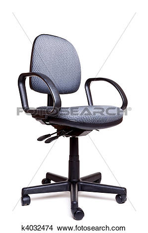 Stock Photo of Office swivel chair side facing white background.