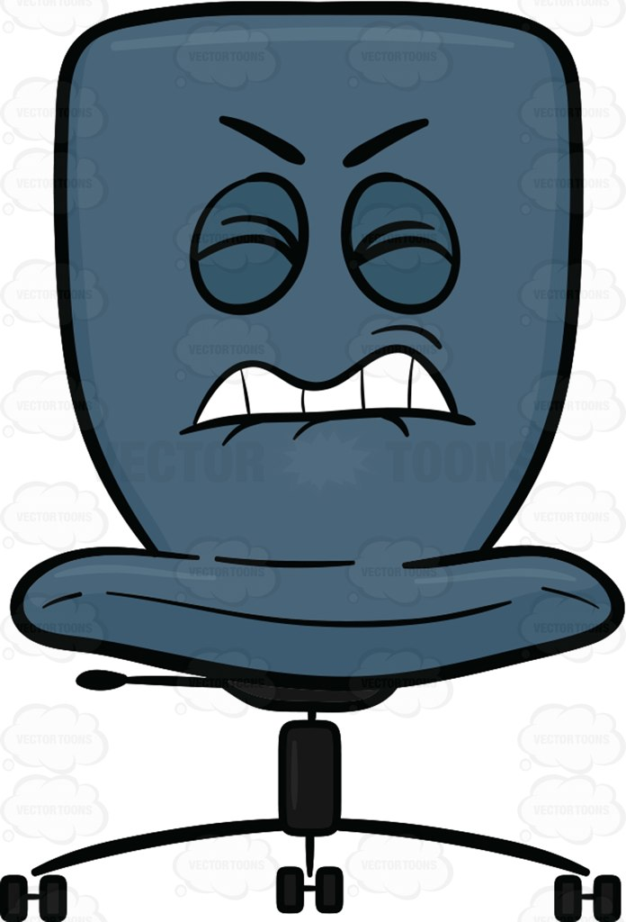 Annoyed Swivel Desk Chair Cartoon Clipart.