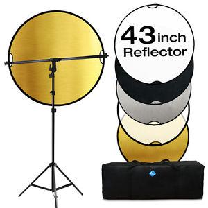 Lusana Reflector Kit 110CM 5 IN 1 REFLECTOR+Swivel Head Arm.