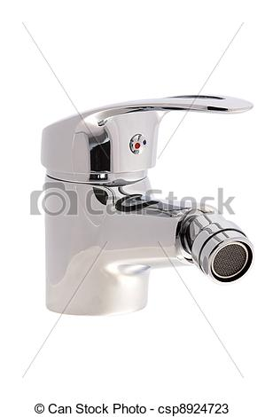 Stock Photos of chrome faucet with a swivel head.