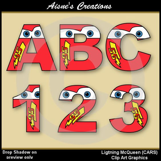 Lightning McQueen (CARS) Alphabet Letters & Numbers Clip Art.