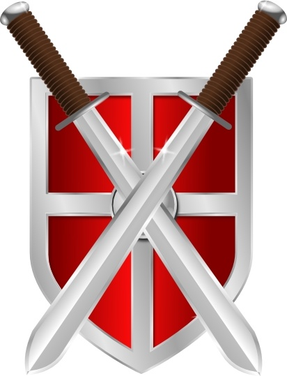 Swords And Shield clip art Free vector in Open office.