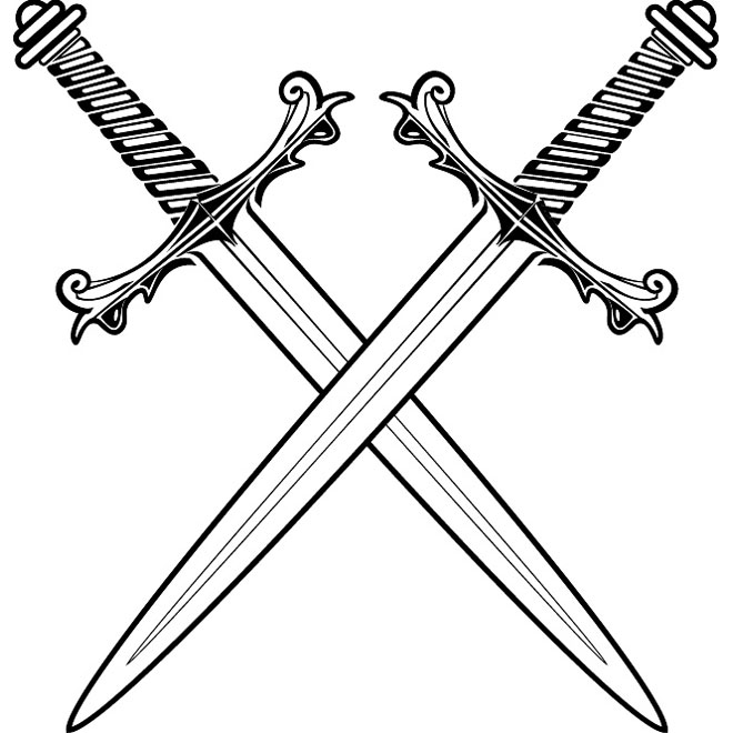 CROSSED SWORDS VECTOR.