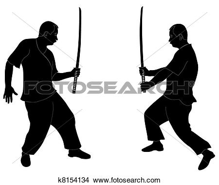 Clipart of fight the Japanese sword k8154134.