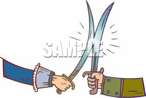 Men In a Swordfight Clipart Picture.