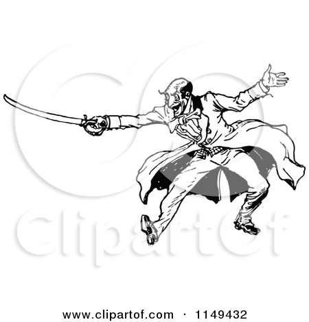 Clipart of a Retro Vintage Black and White Man Sword Fighting.