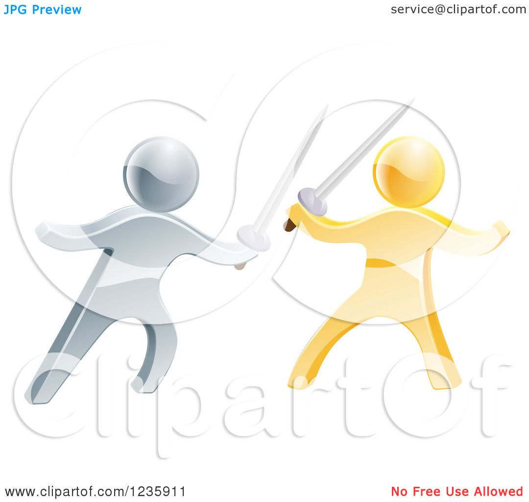 Clipart of 3d Gold and Silver Men Sword Fighting.