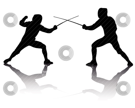 Silhouettes of athletes fencers stock vector.