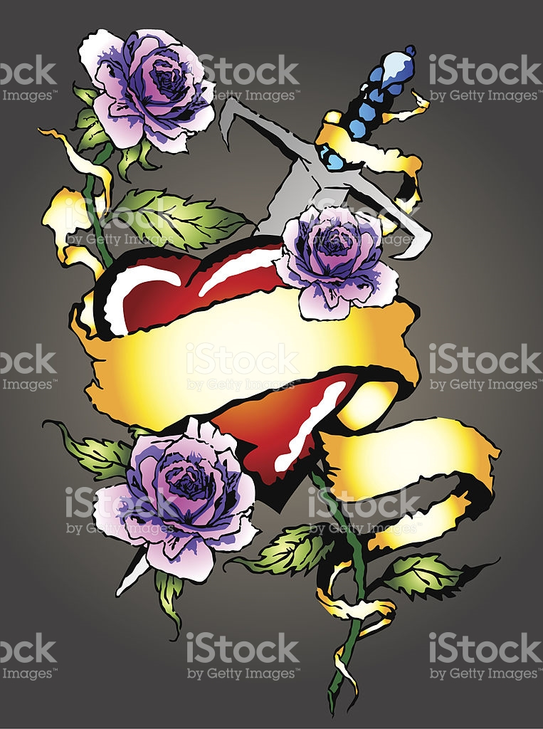 Glossy Heart Surrounded By Rose And Sword stock vector art.