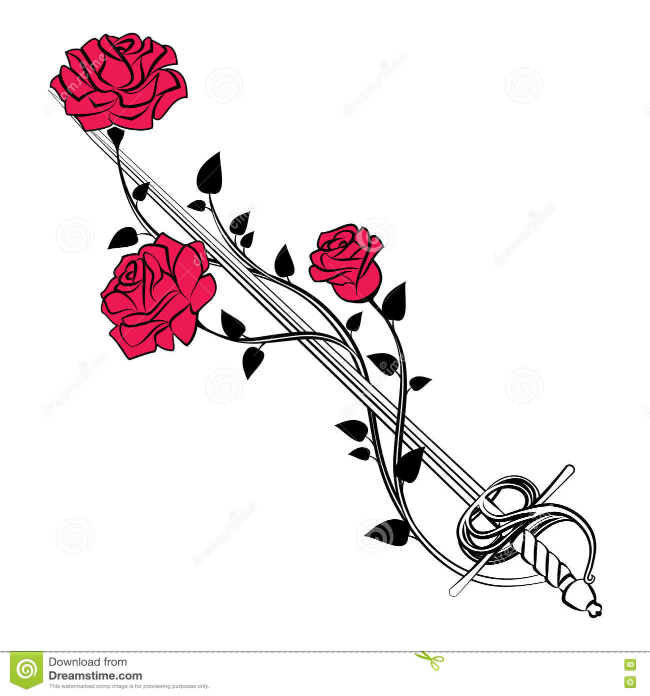 Decorative Roses With Sword. Blade Entwined Roses. Floral Design.