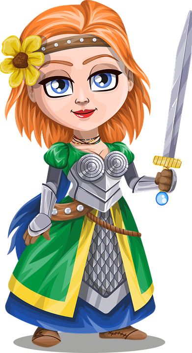 Free vector graphic: Knight, Girl, Lady, Sword, Flower.