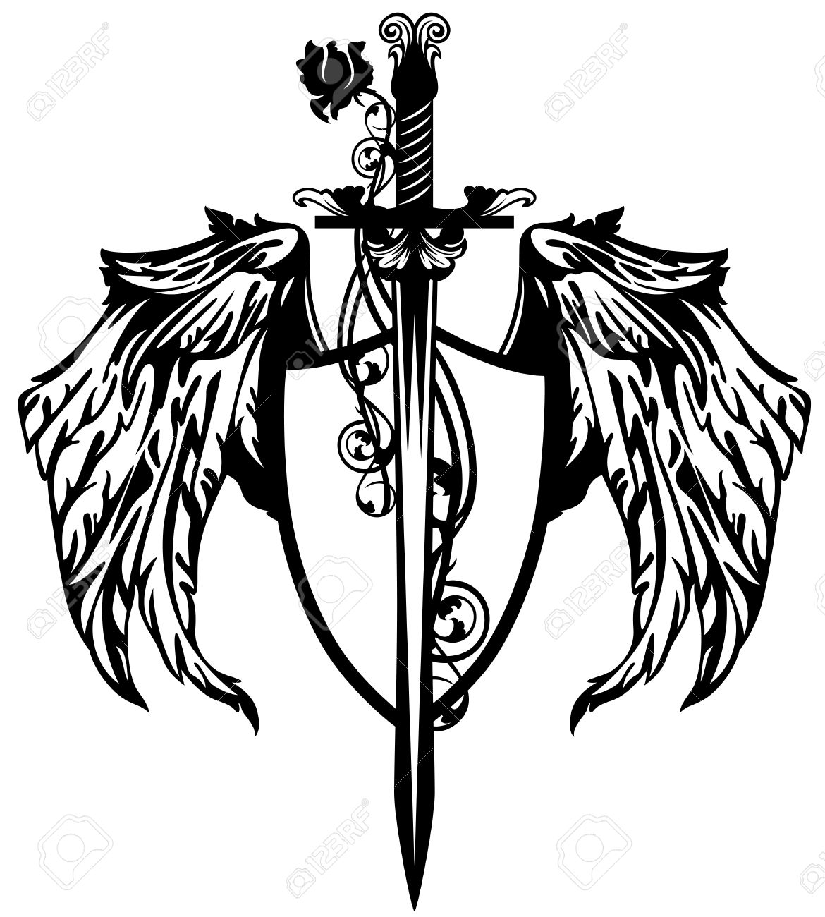 Sword With Rose Flower And Winged Shield Design Royalty Free.