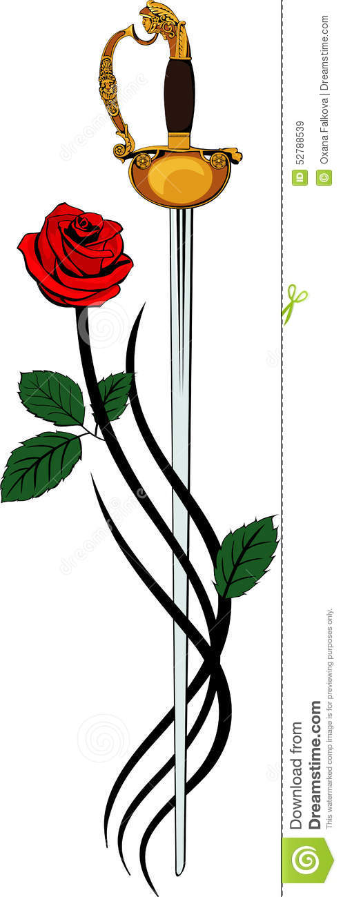 Sword And Rose Stock Vector.