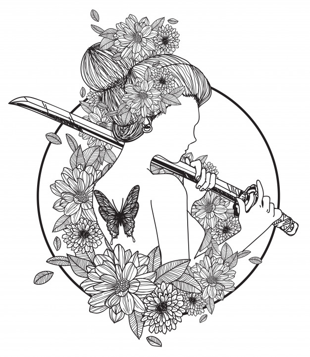 Tattoo art women hold a sword hand drawing and sketch black.